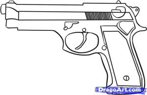 gun drawing draw simple step guns outline cartoon weapons easy drawings tattoo cliparts sketches tattoos dragoart pistol cool templates objects