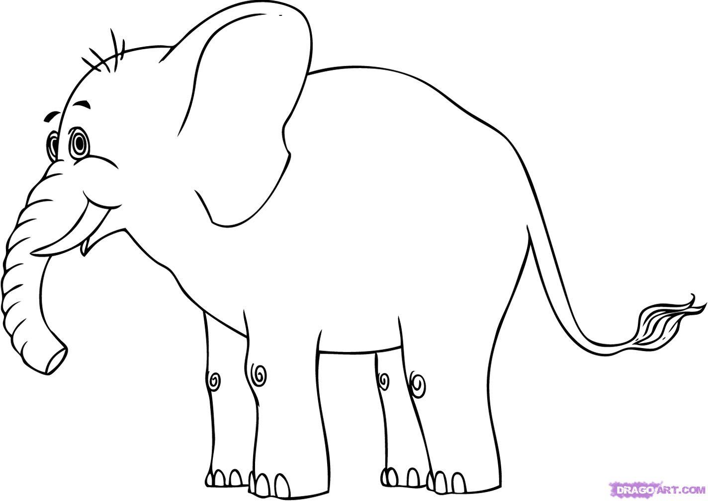 Elephant Cartoon Outline