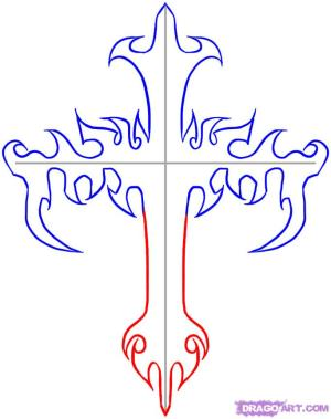 cross draw tribal crosses step drawings cool drawing wings flowers cliparts rose dragoart patterns steps library clipart tattoos coloring pages