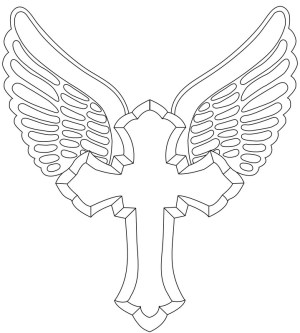 cross wings tattoos designs outline tattoo simple drawing angel crosses vector wing graphic cliparts draw tribal clip clipart step girly