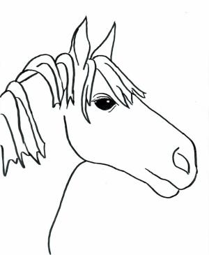easy coloring pages horse drawings drawing down upside horses clipart cartoon simple pencil beginners sketch cliparts access week race getdrawings