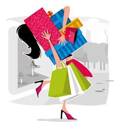 shopping cartoon bags cliparts link retail going shopper clothes bag therapy shoping spree compras attribution forget don thrift