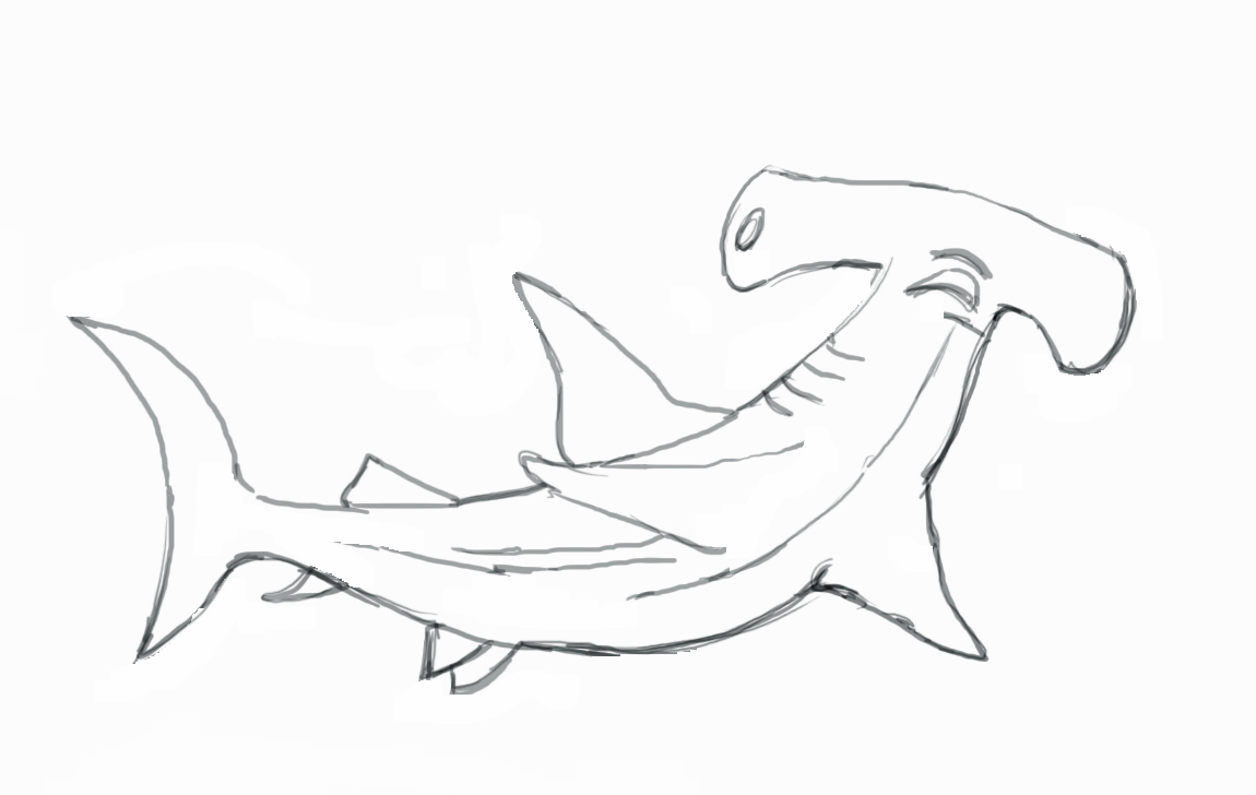 hight resolution of hammerhead shark clipart black and white gallery