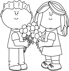 flowers valentine clipart valentines giving clip cliparts outline flower boy graphics library attribution forget link don