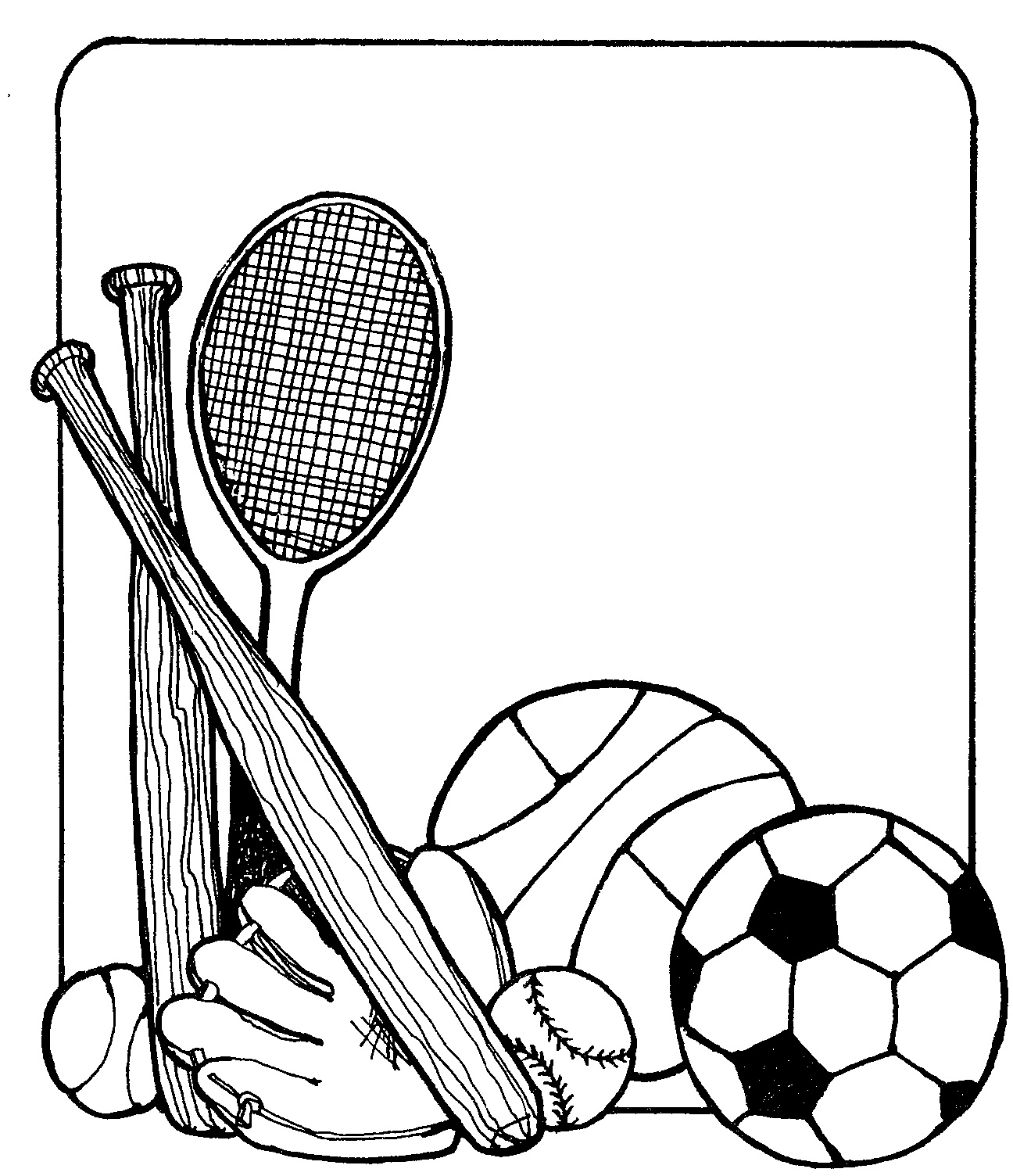 Sports Equipment Clipart Black And White