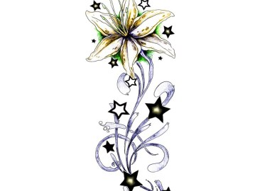 Stars And Flower Tattoo Designs