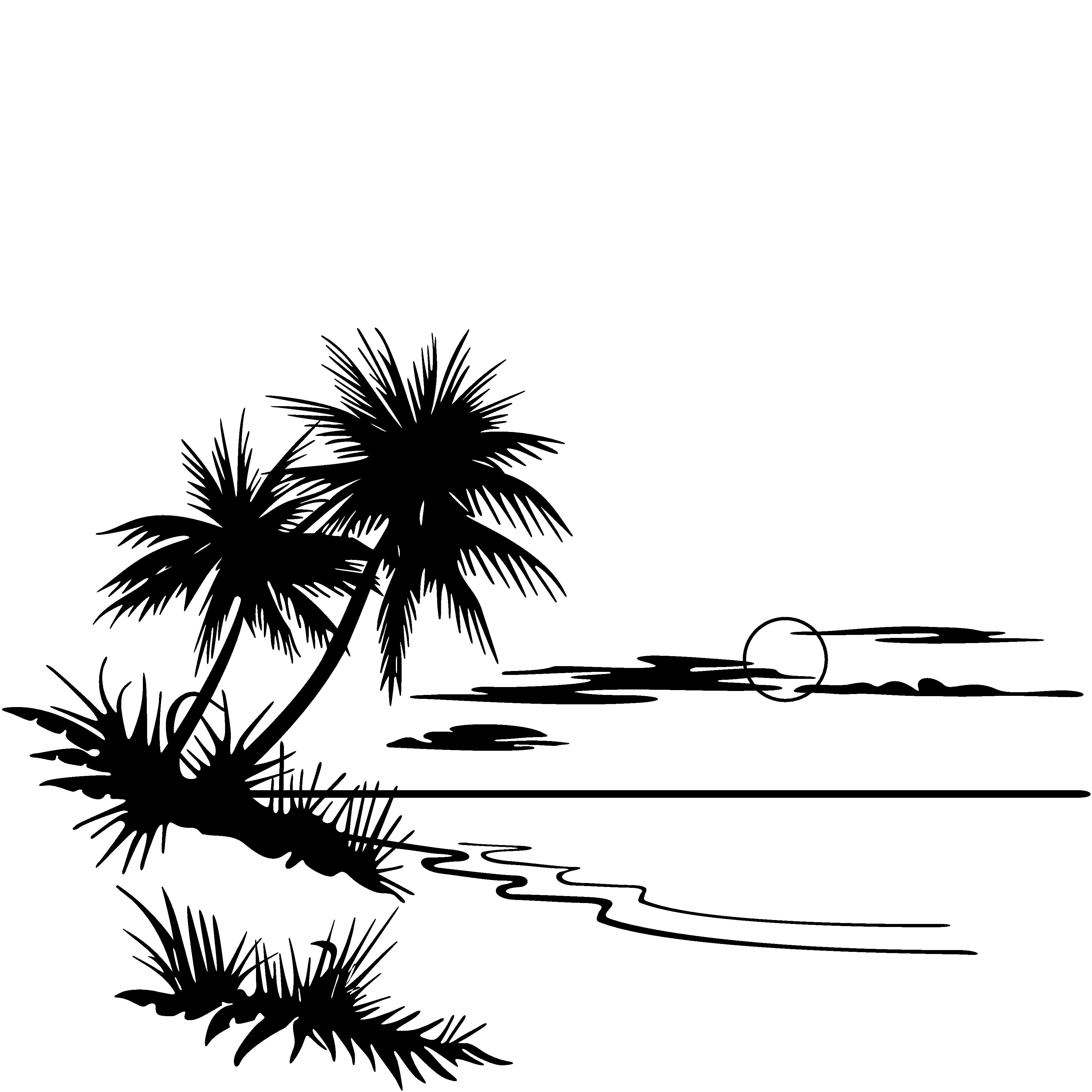 Beach Clip Art Black And White
