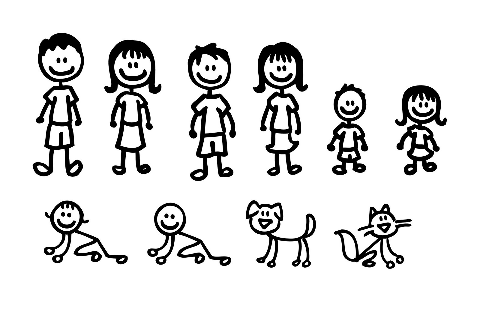 Stick Family Clipart Black And White