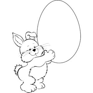 Bunny Lifting Egg clipart, cliparts of Bunny Lifting Egg