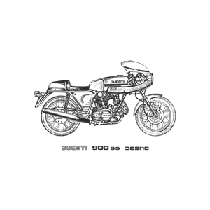 Ducati 900ss Desmo motorcycle, year 1980 clipart, cliparts