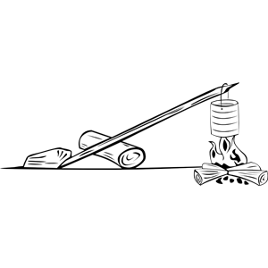 Campfires and cooking cranes clipart, cliparts of