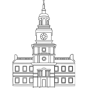 Independence Hall clipart, cliparts of Independence Hall