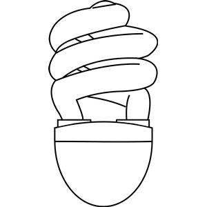 CFL (compact fluorescent) light bulb outline clipart