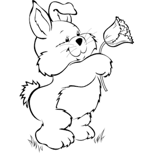 Bunny with Flower clipart, cliparts of Bunny with Flower