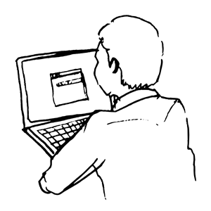 Line Drawing of Man at Computer clipart, cliparts of Line