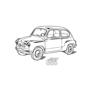 FIAT 600 car, year 1955 clipart, cliparts of FIAT 600 car