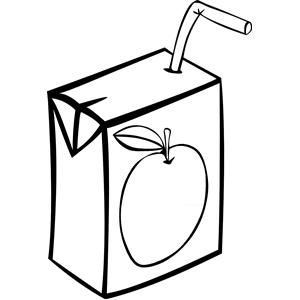 apple juice box bw clipart, cliparts of apple juice box bw