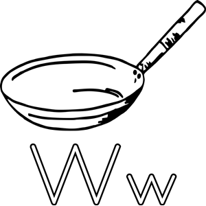 W For Wok Para Colorear clipart, cliparts of W For Wok