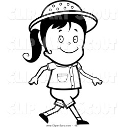 Clipart of a Black and White Walking Safari Girl by Cory Thoman #407