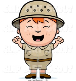 clipart of a cute and happy red haired safari boy cheering [ 1024 x 1044 Pixel ]