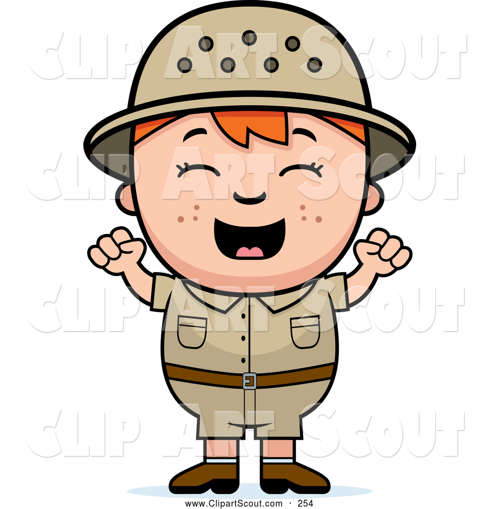 hight resolution of clipart of a cute and happy red haired safari boy cheering