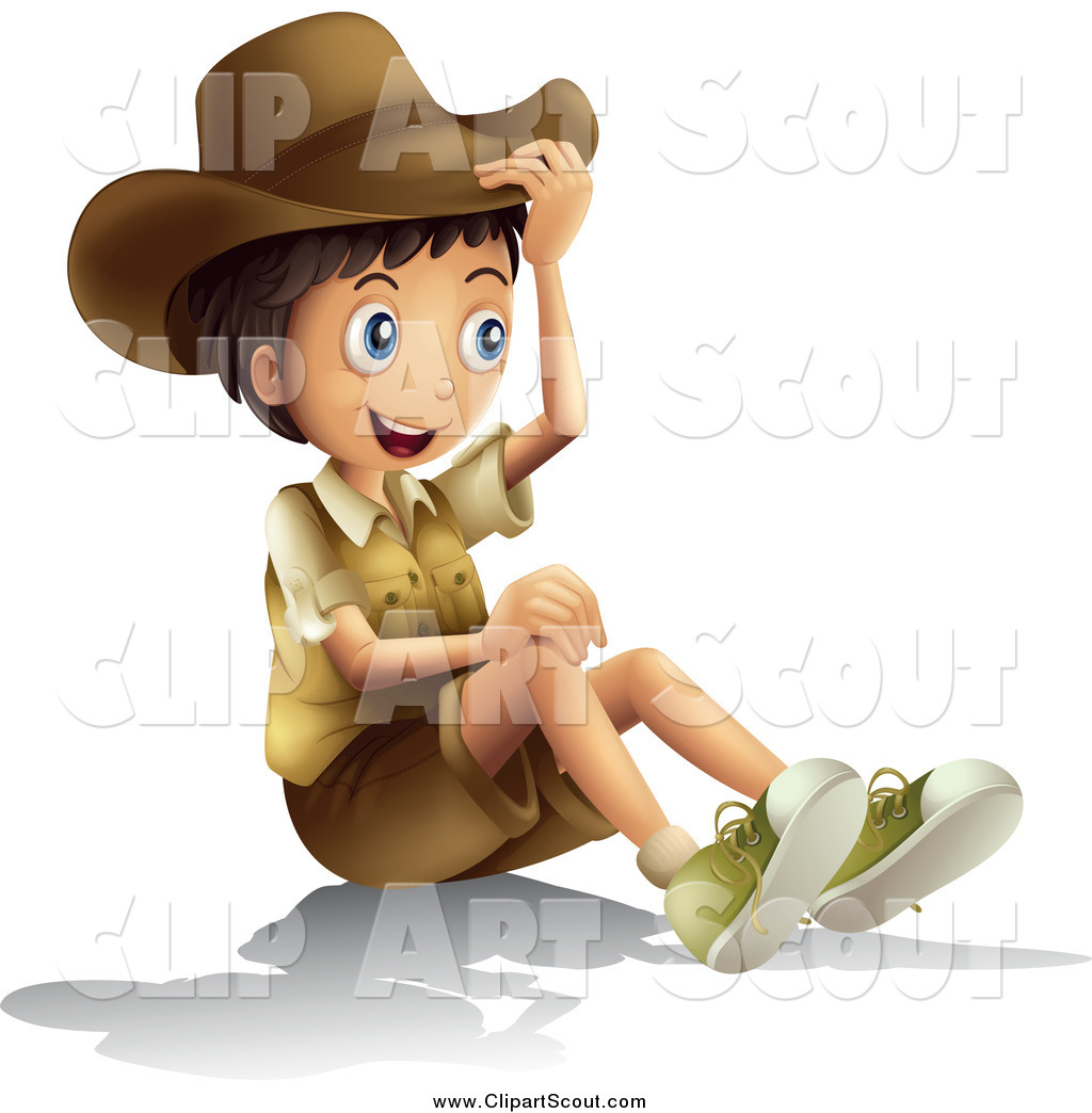 hight resolution of clipart of a happy explorer boy sitting