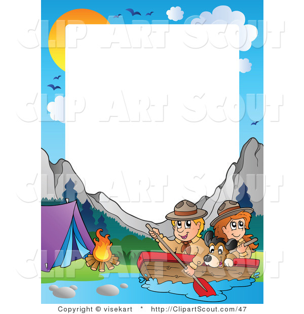 Animal Print Wallpaper Border Clipart Of A Boating Scouts By A Campground Frame And