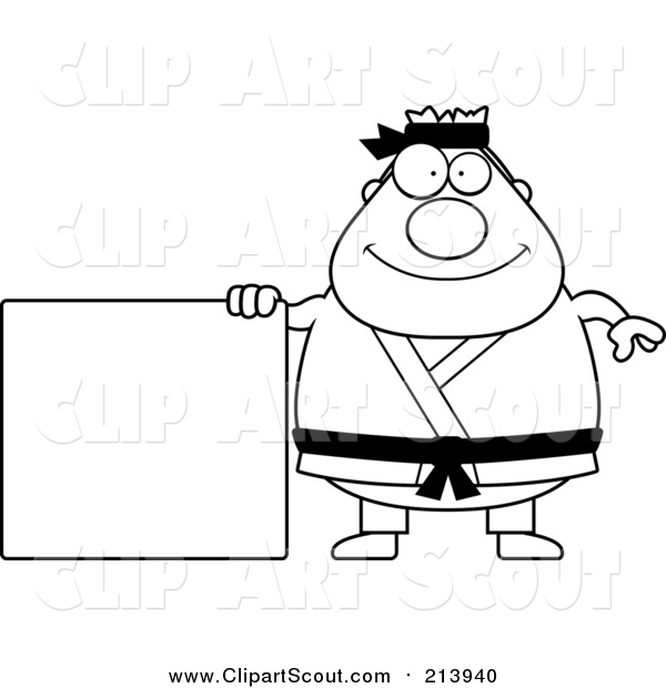 Clipart of a Lineart Chubby Black Belt Karate Man with a