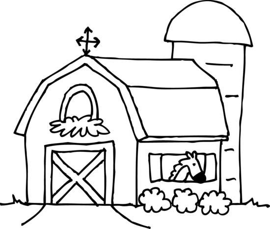 Cute barn coloring page free clip art image #13233