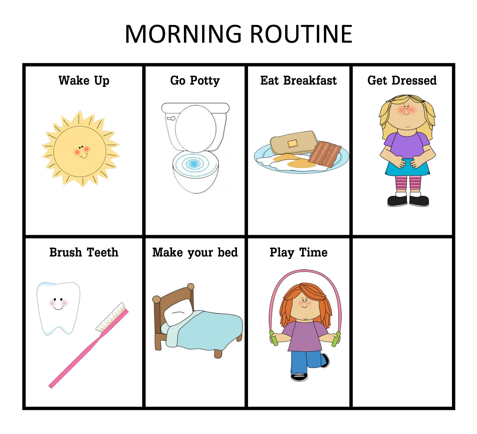 Morning Routine Clipart Image