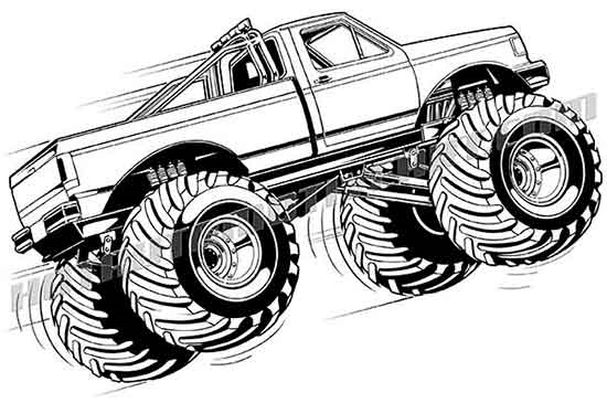Ford monster truck vector clipart buy two images get one