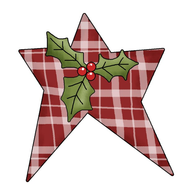 cute country christmas star clipart