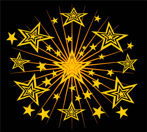 gold stars black design free