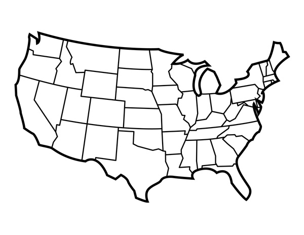 Us map map of outline clipart image #28459