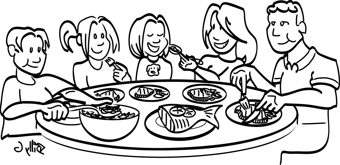 Dinner clean clip art family meal black and white clipart