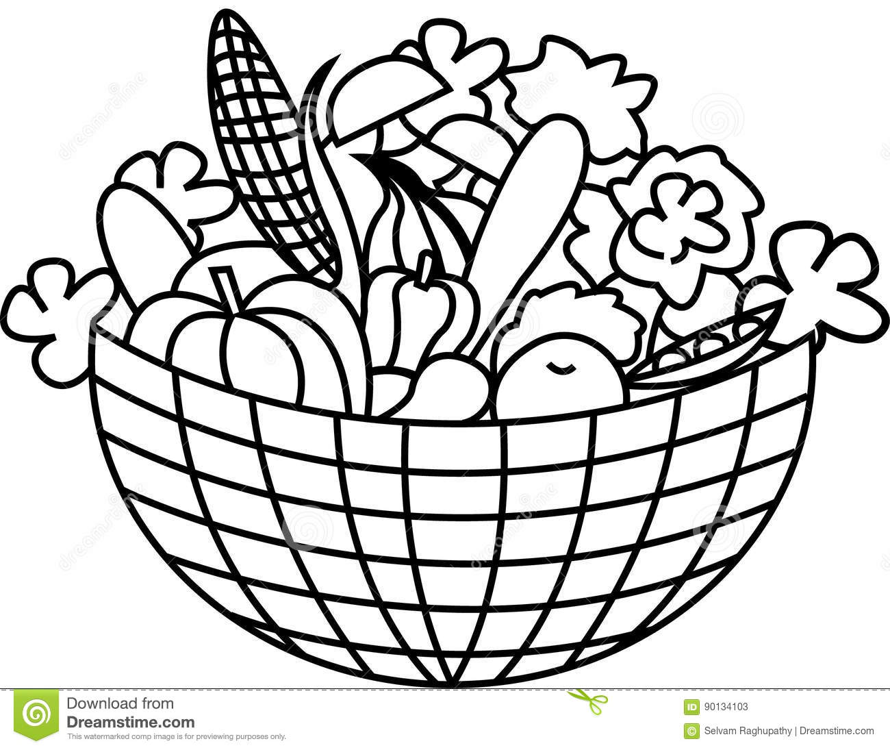 Basket Of Vegetables Clipart Black And White 5 Clipart