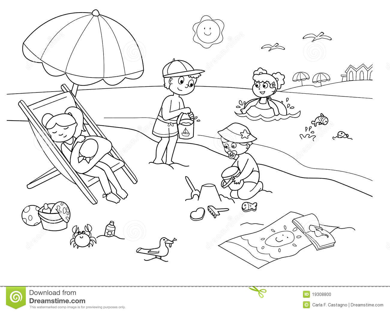 Beach Clipart Black And White 4 Clipart Station