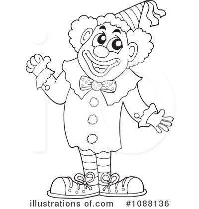 clown clipart black and white 7