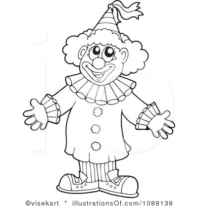 clown clipart black and white 9