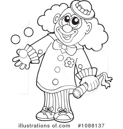 clown clipart black and white