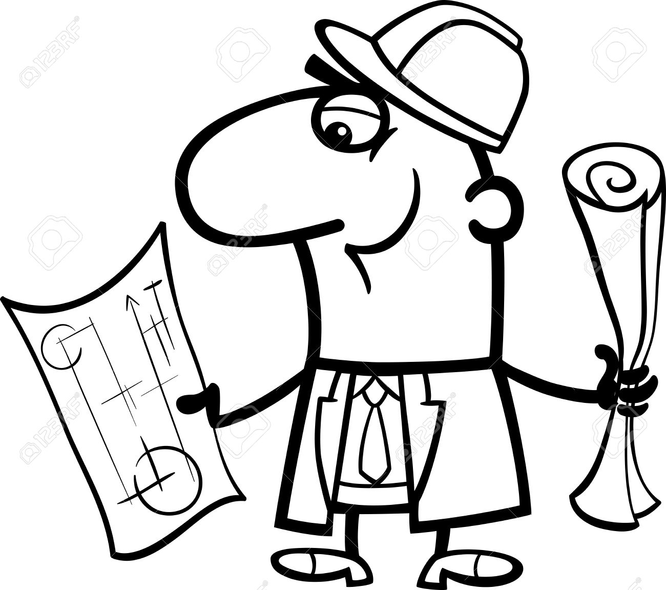 Engineer Cartoon Coloring Book Clipart Station