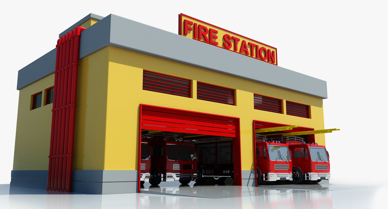 hight resolution of fire station building clipart 9