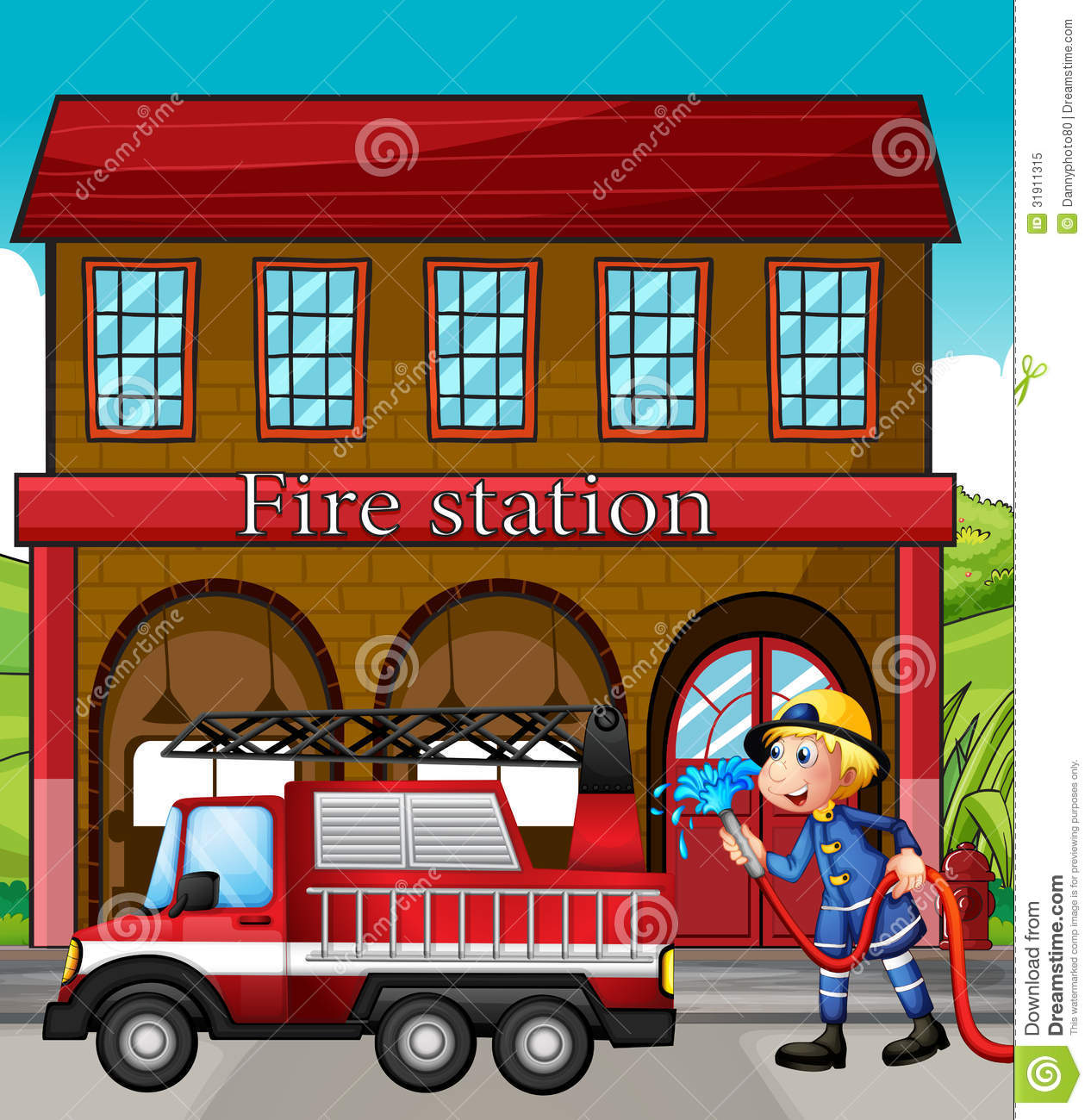 hight resolution of fire station clipart 4
