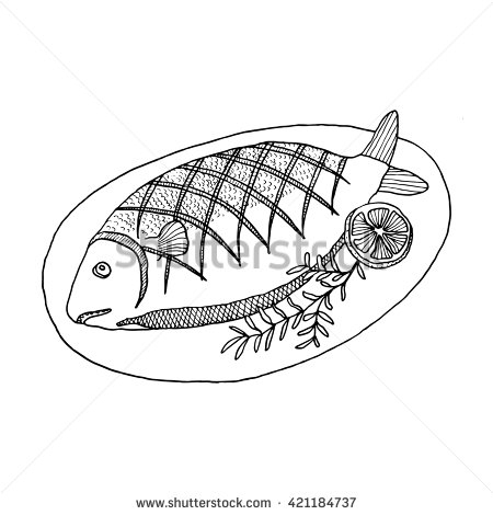 fried fish clipart black and white