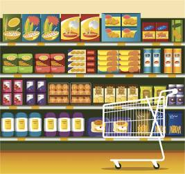 supermarket clipart shopping grocery vector clip food cart shelf illustration illustrations cereal breakfast graphics getty icons