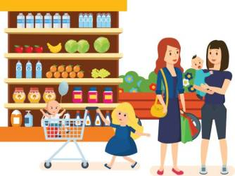 grocery shopping clipart mall walk vector clip merchandise supermarket purchased through mother market son illustrations station cartoons
