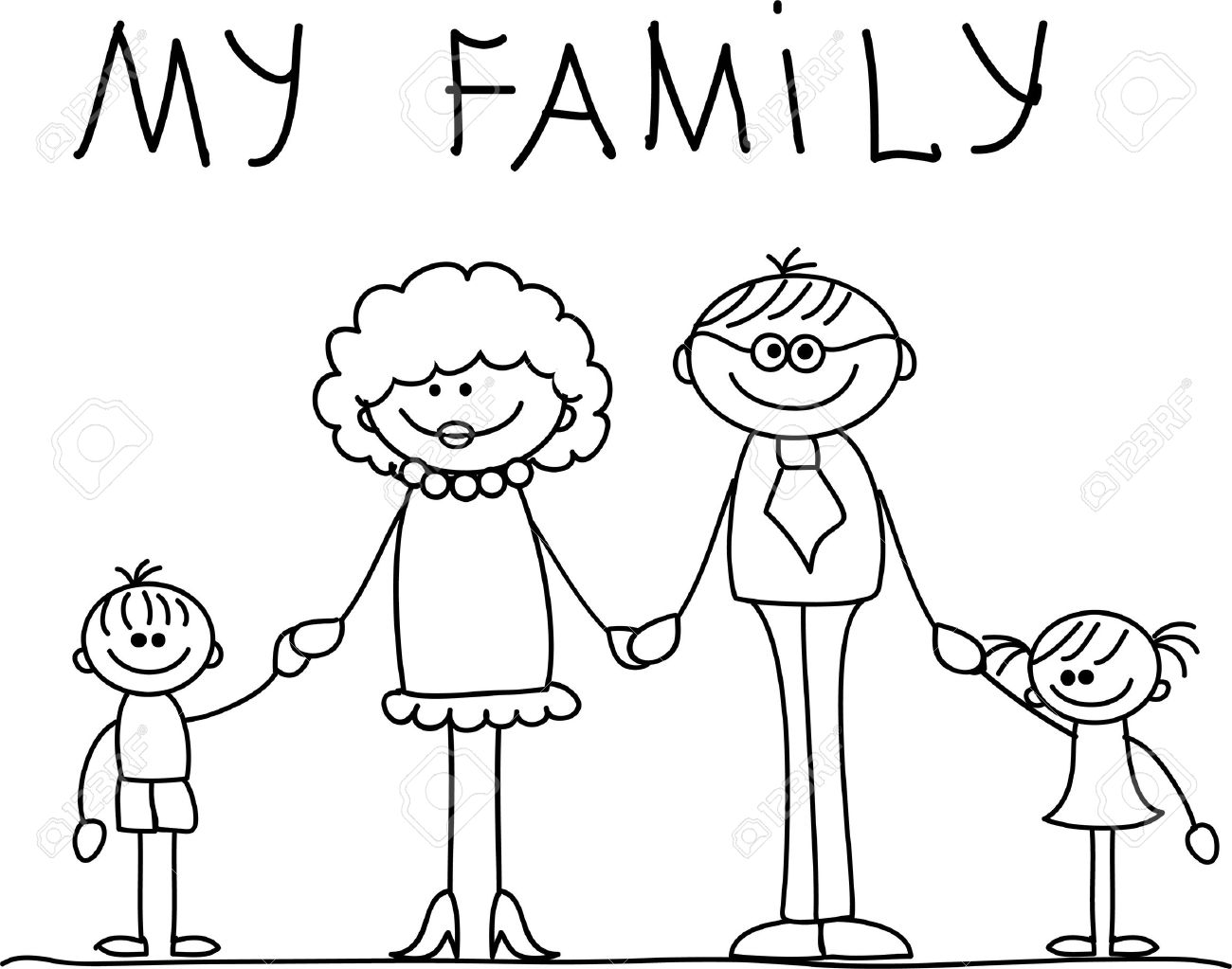 Happy Family Clipart Black And White 7 Clipart Station