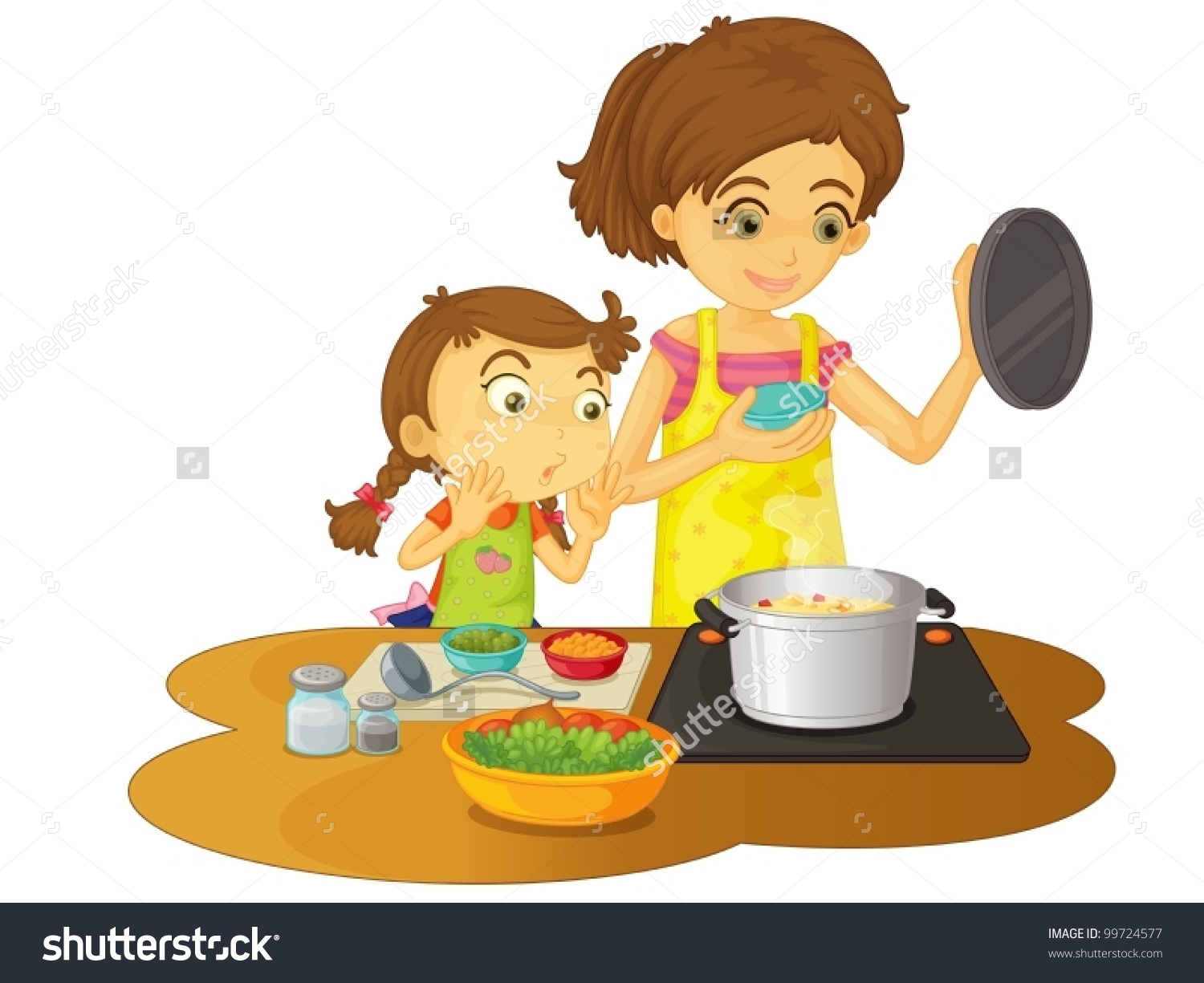 hight resolution of mother cooking clipart 3