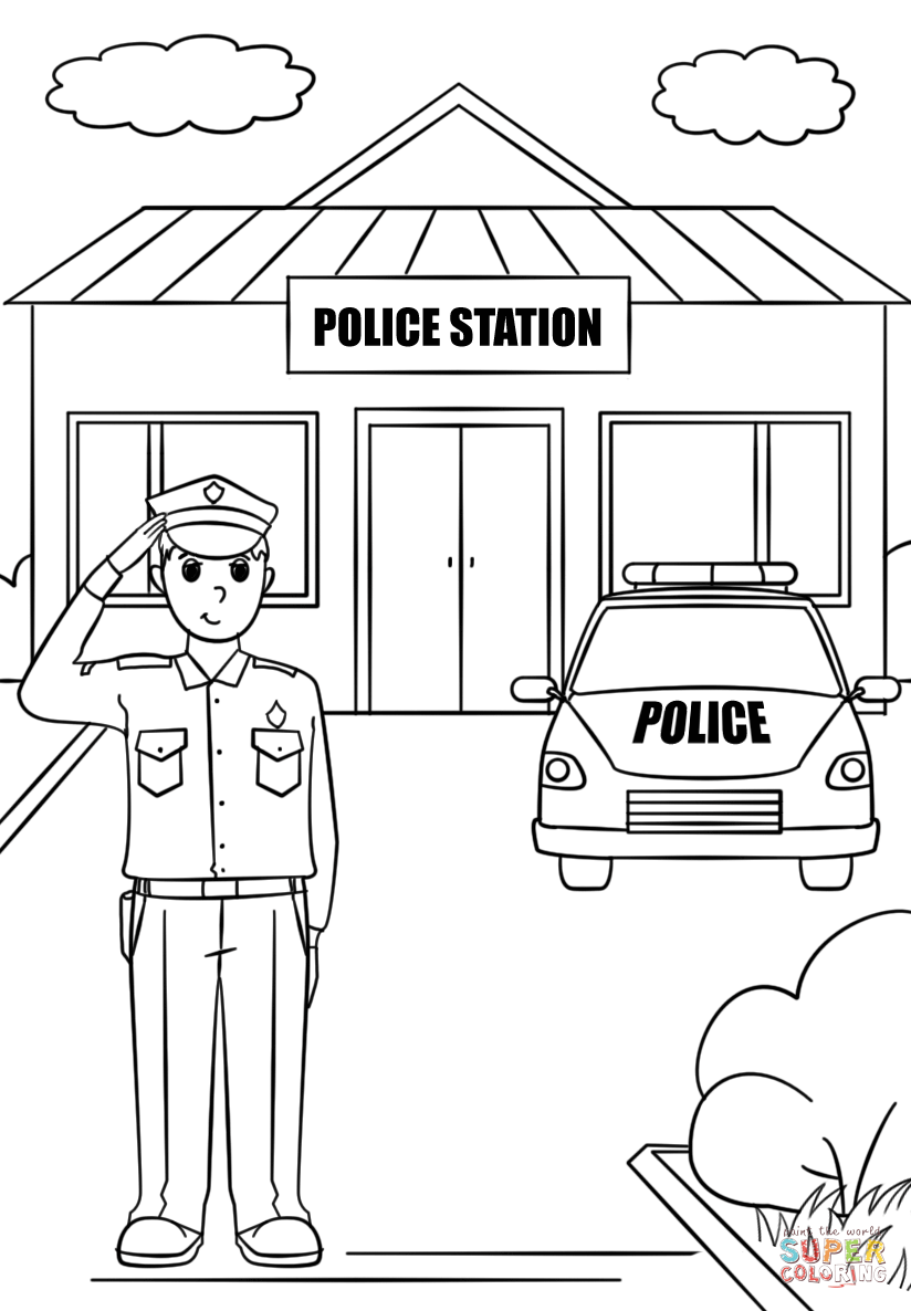 Police station clipart black and white » Clipart Station