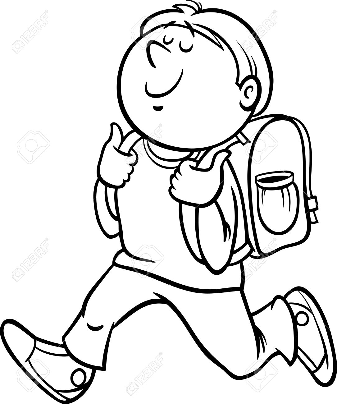 Boy Grade Student Coloring Page Clipart Station